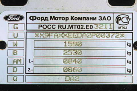 Расшифровка VIN-кода Ford
